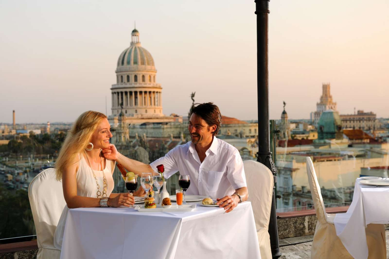 Rooftop dining at the Parque Central hotel in Havana, Cuba