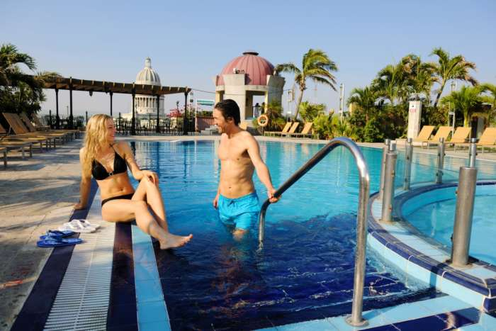 Rooftop swimming pool at the Parque Central hotel in Havana, Cuba
