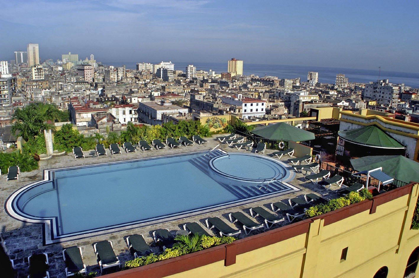 Aerial view of the pool at the Parque Central hotel in Havana, Cuba