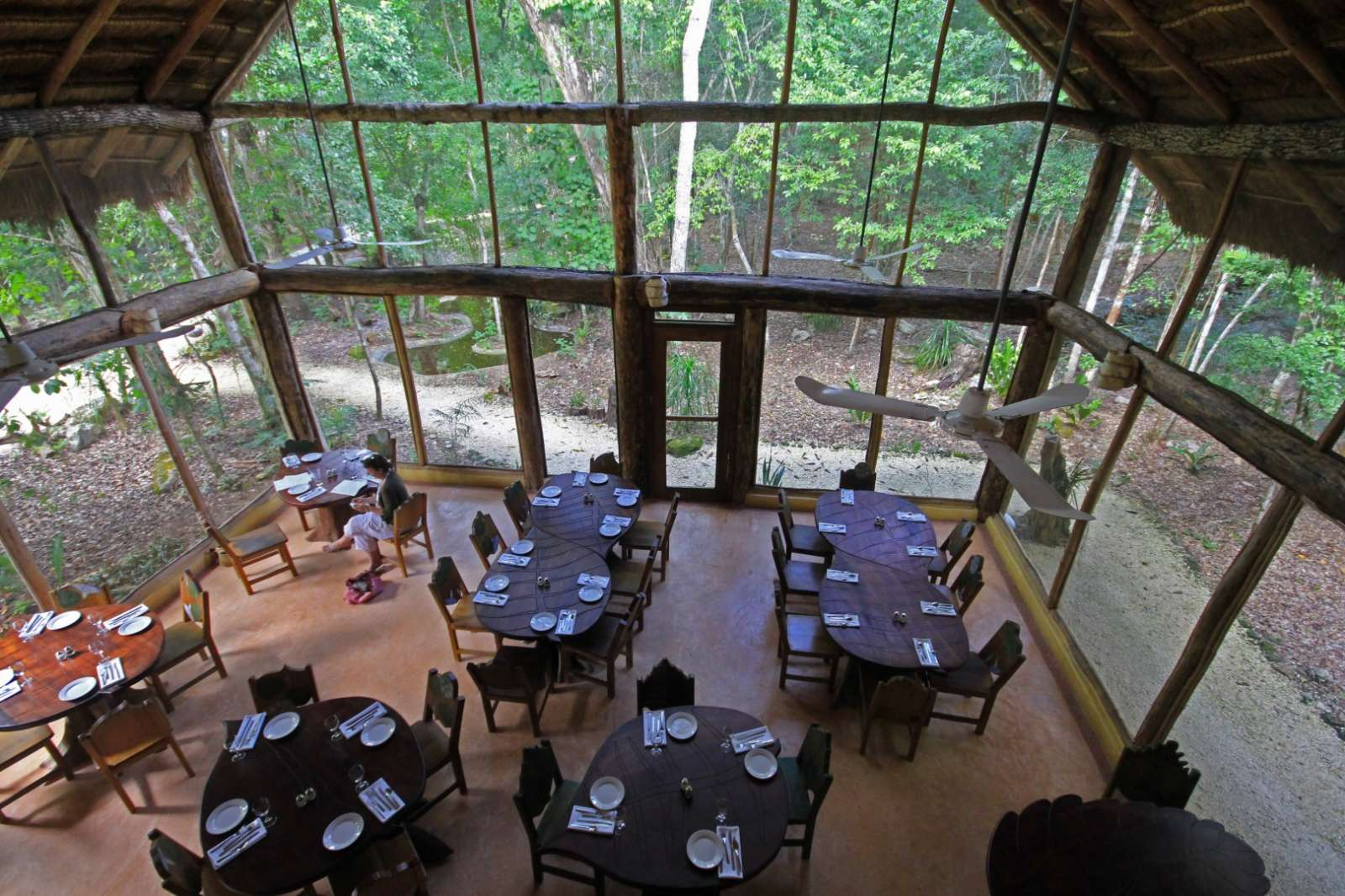 Aerial view of restaurant at Hotel Puerta Calakmul