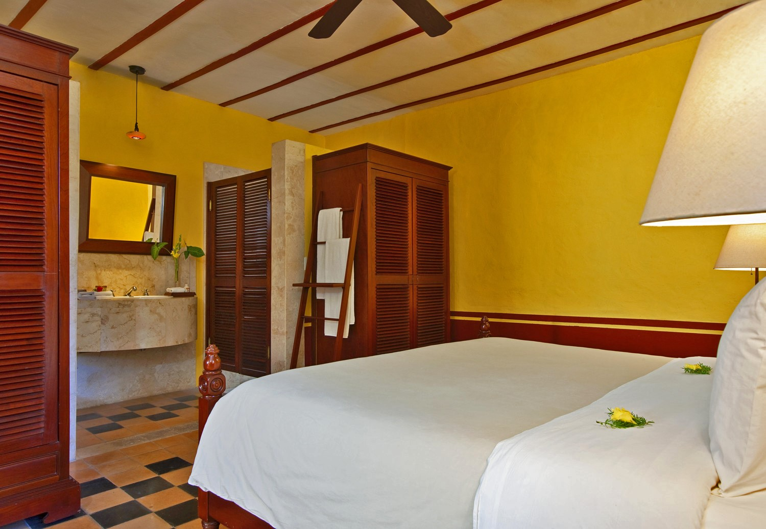 Double bed at Hotel Puerta Campeche