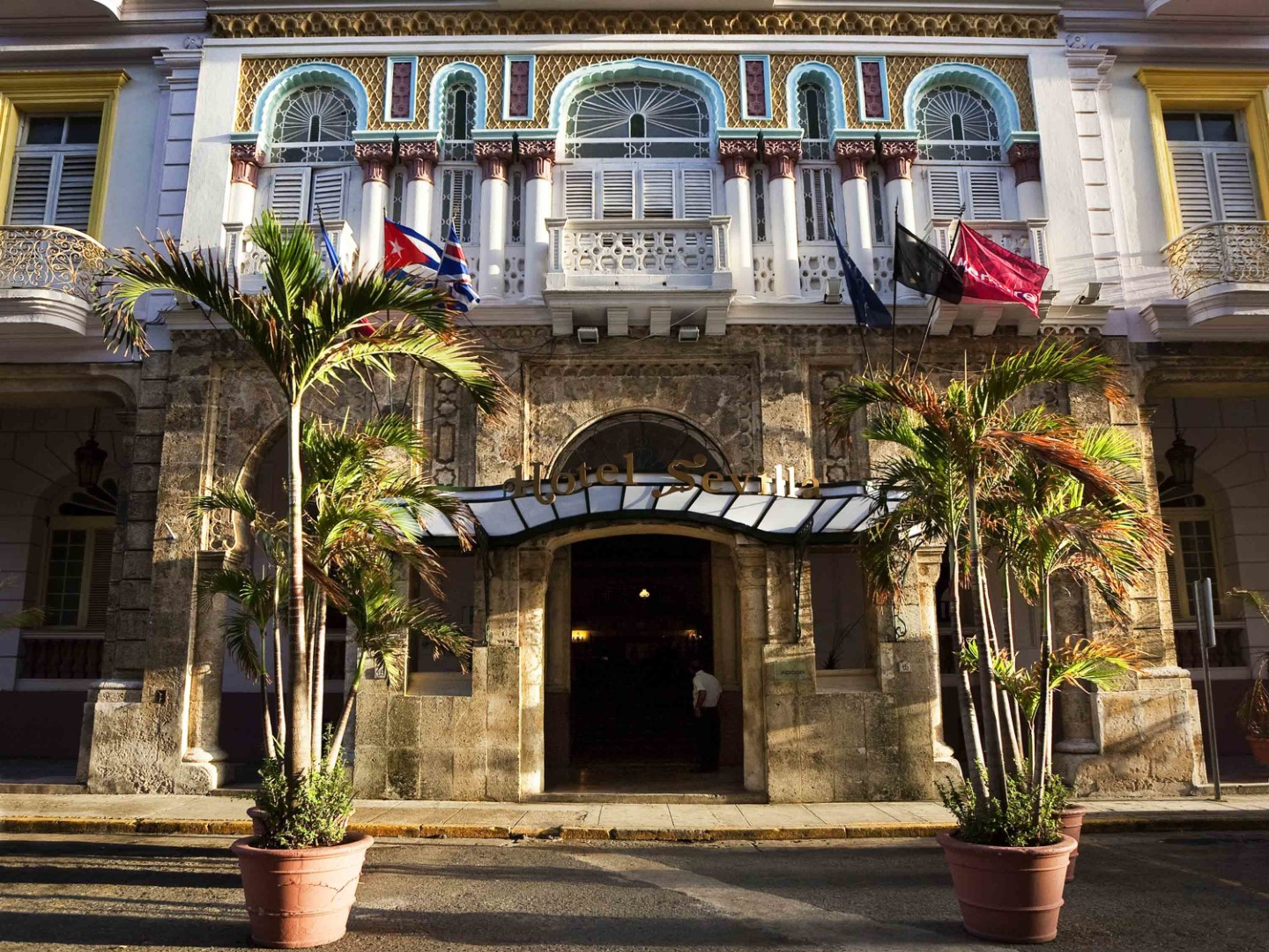 Main entrance to the Hotel Sevilla in Havana, Cuba