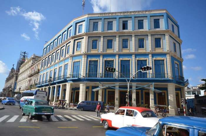 Exterior of the Hotel Telegrafo in Havana, Cuba