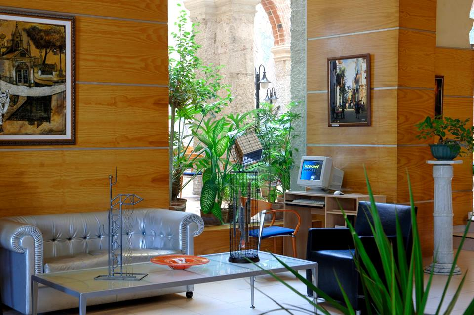 Lobby of the Hotel Telegrafo in Havana, Cuba