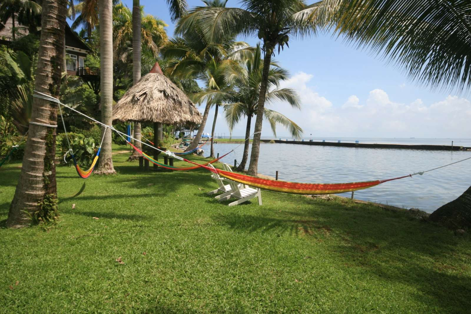 Garden hammocks at Villa Caribe in Livingston, Guatemala
