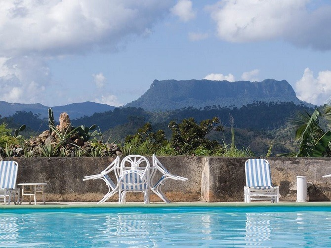 View from the hotel pool at El Castillo hotel in Baracoa Cuba