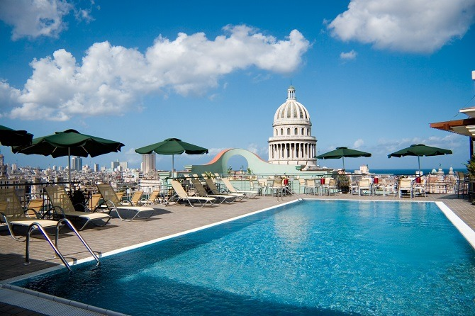 The rooftop swimming pool at the Hotel Saratoga in Old Havana, Cuba