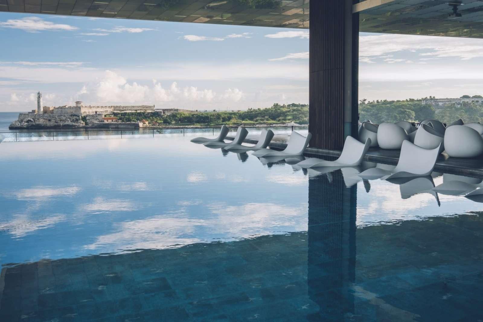 Pool seats at the Iberostar Packard hotel in Havana, Cuba