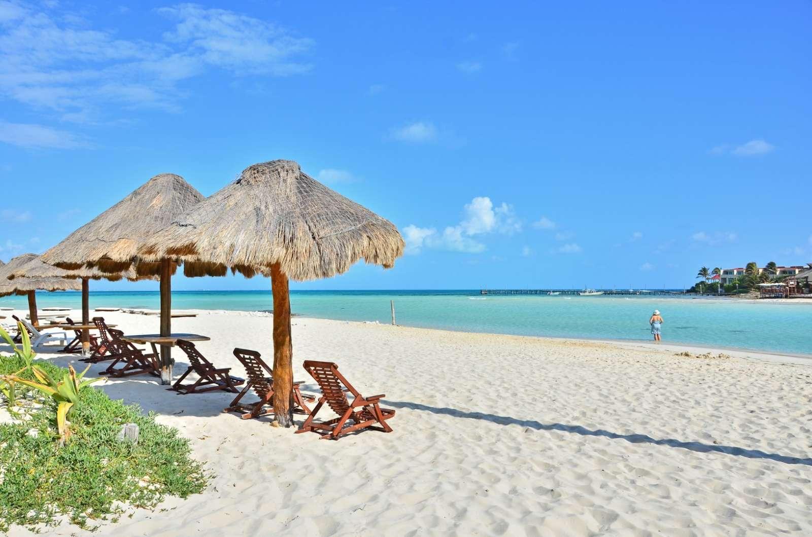 Beach palapas on Isla Mujeres Mexico