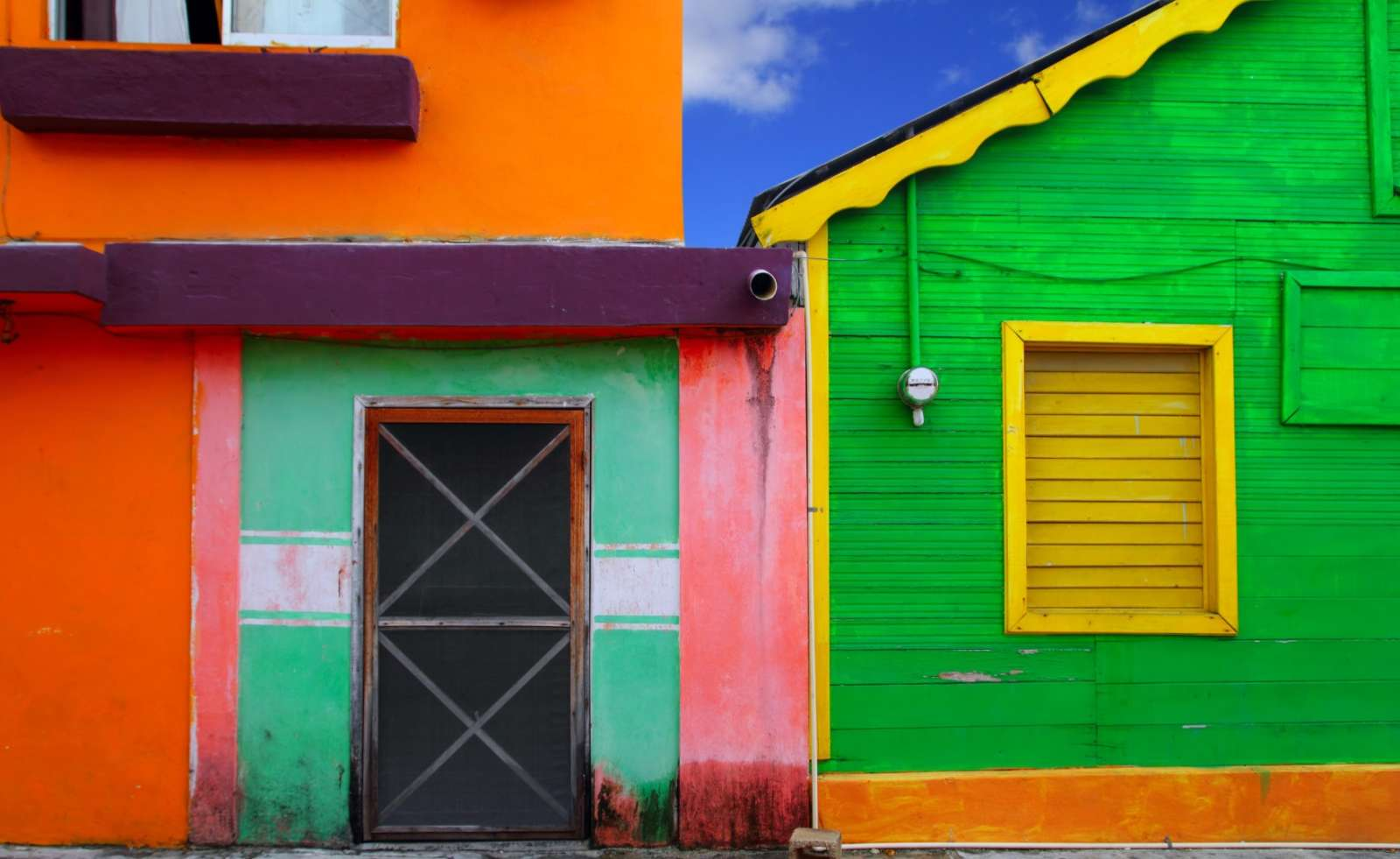 Colourful buildings on Isla Mujeres Mexico