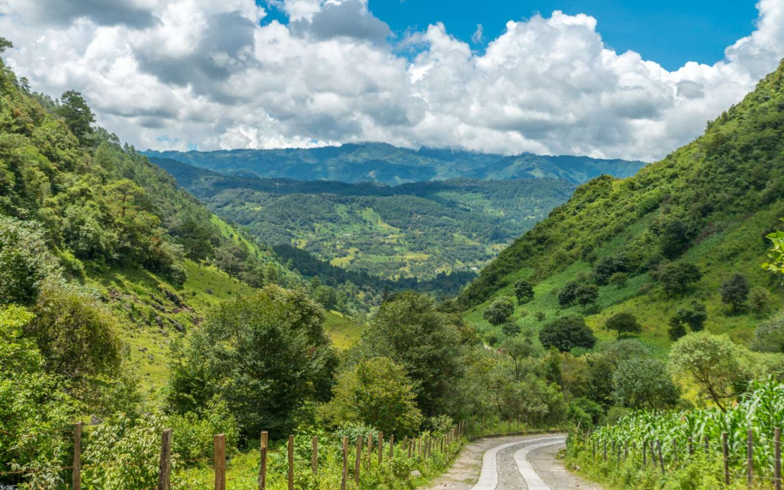 Quiet road with lovely views near Nebaj in the Ixil Triangle of Guatemala