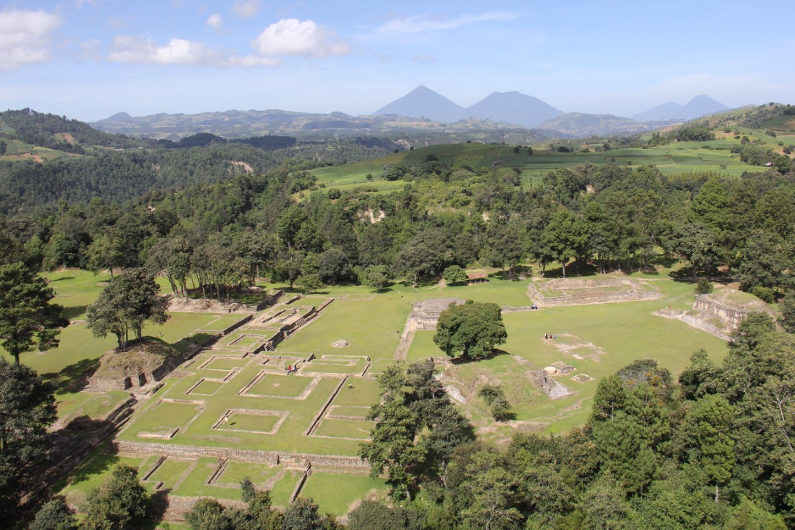 An aerial view of Iximche in Guatemala