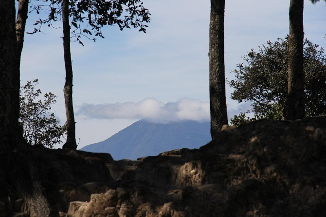 View of volcano from Iximche