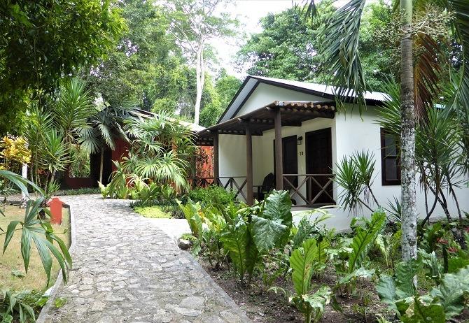 The Jungle Lodge Tikal is an hour from Flores
