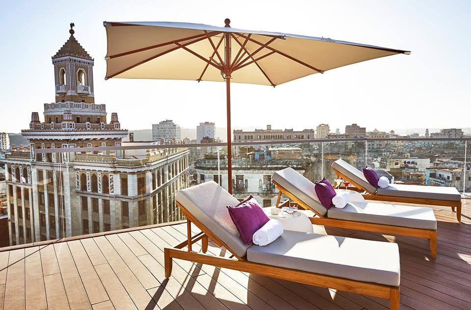 Rooftop loungers at the Kempinski Havana hotel in Cuba