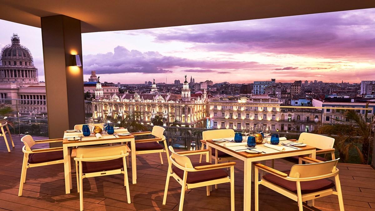 Rooftop dining at the Kempinski Havana hotel in Cuba