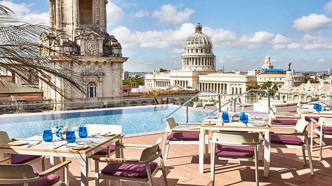 View over Havana from the rooftop pool and restaurant at the Kempinski Havana hotel La Manzana