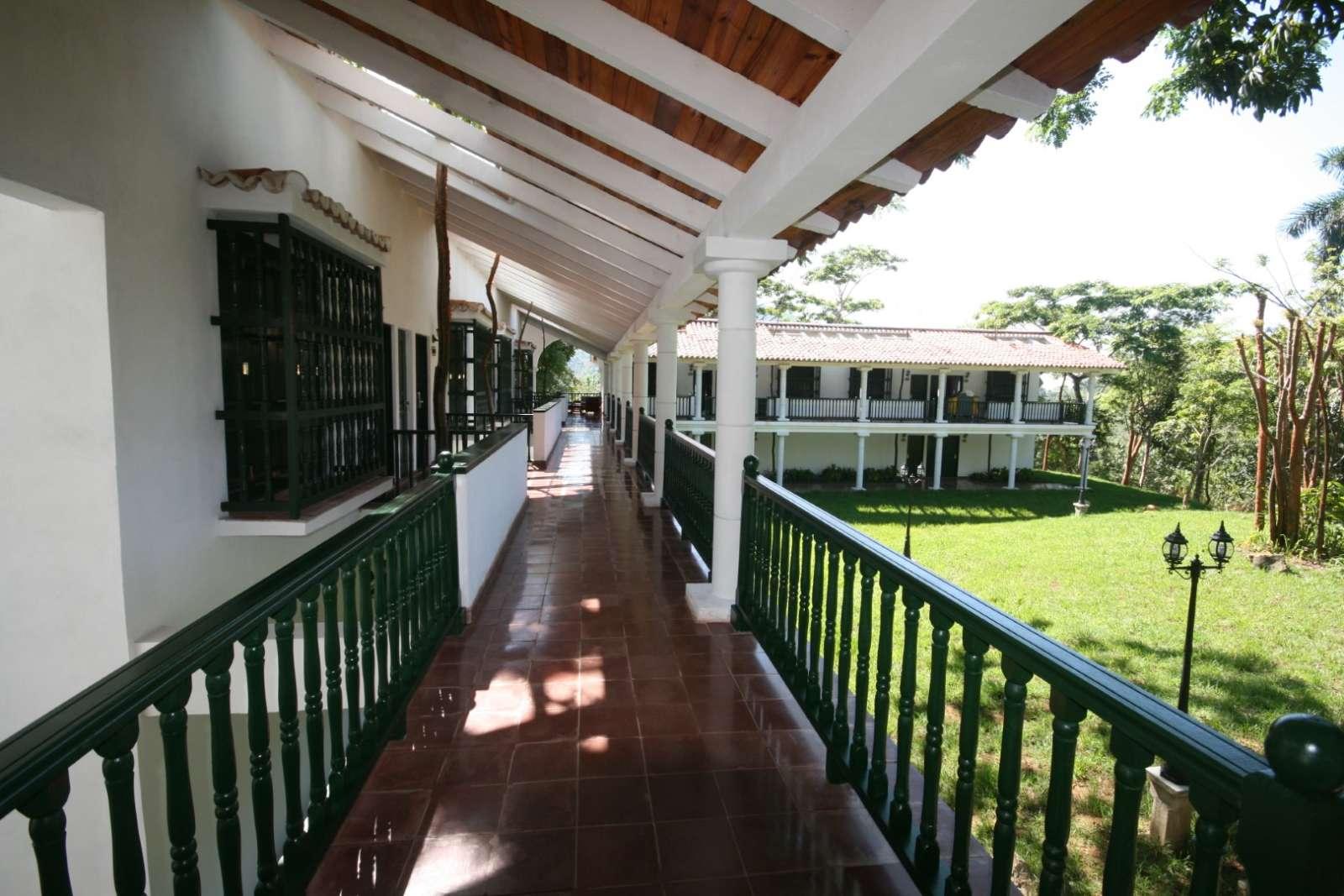 Corridor to rooms at La Moka hotel in Las Terrazas, Cuba