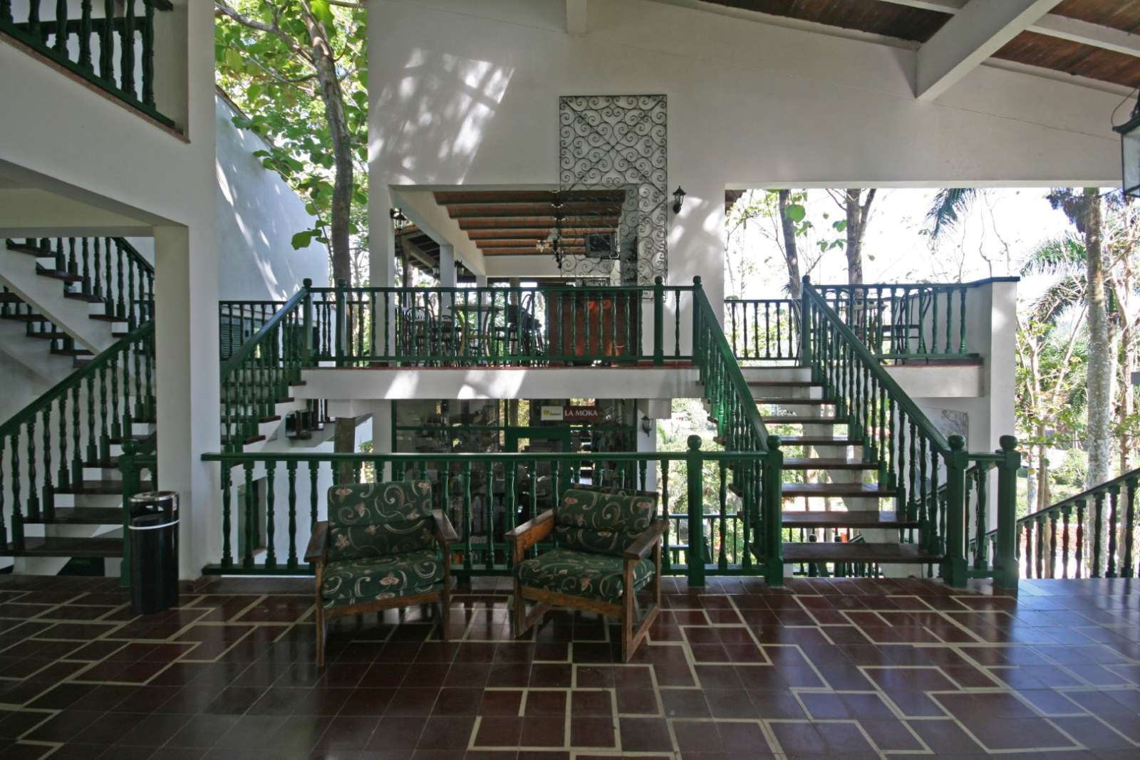 Lobby and reception area at La Moka hotel in Las Terrazas, Cuba