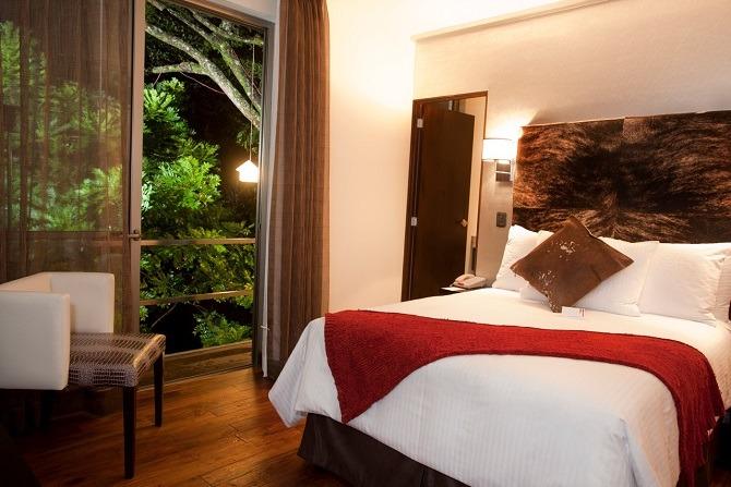 A bedroom at La Inmaculada Hotel in Guatemala City