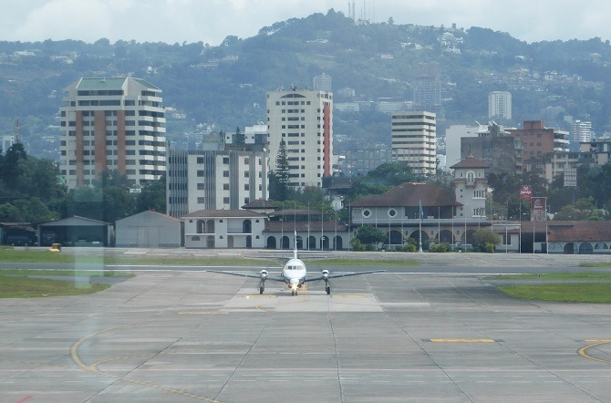 An aircraft arriving at La Aurora International Airport, Guatemala City