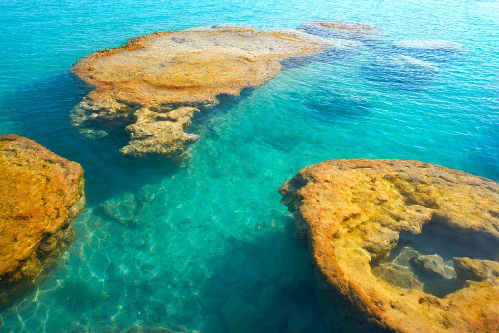 Submerged rocks at Laguna Bacalar