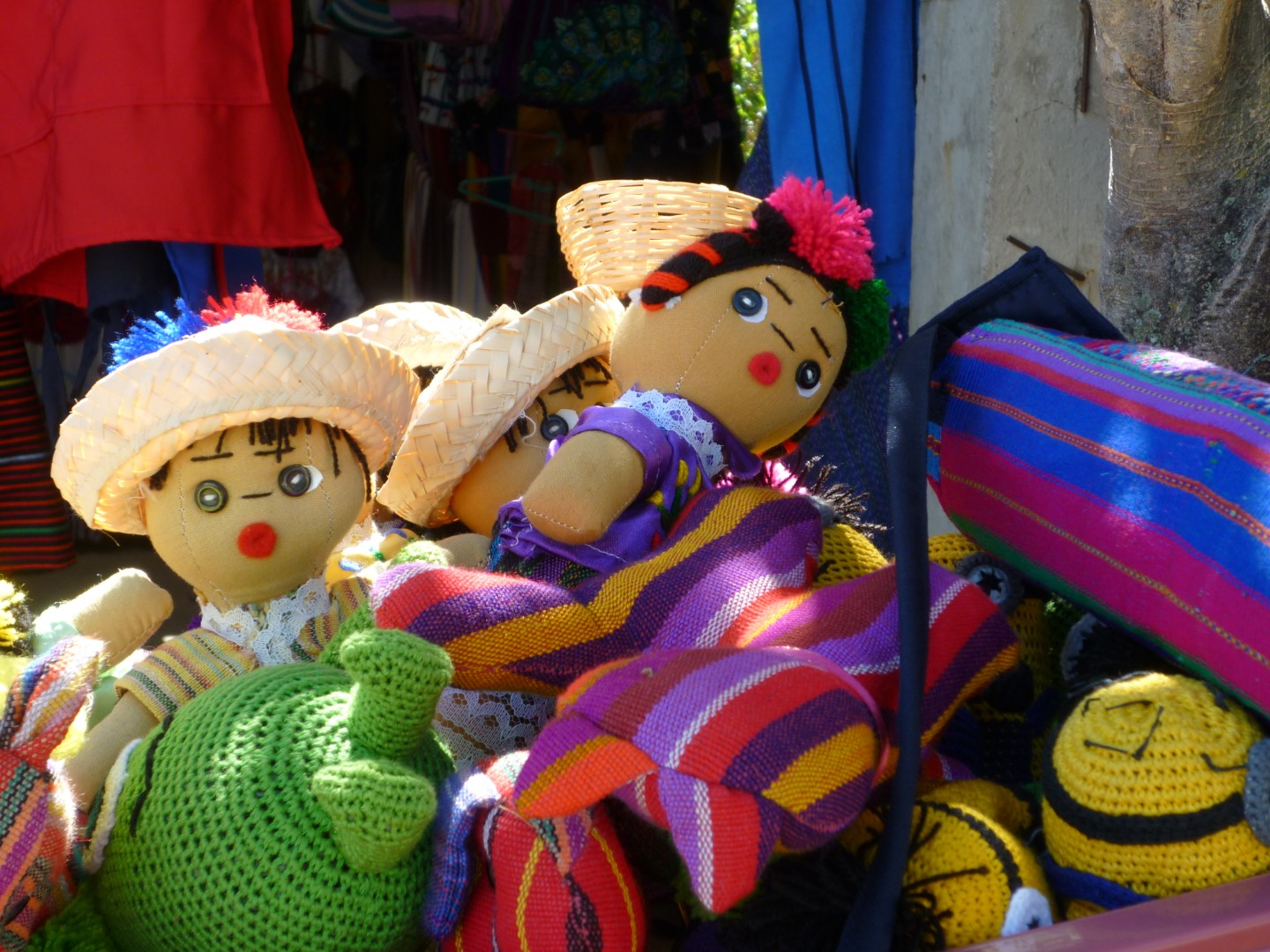 Traditional dolls for sale at Lake Atitlan, Guatemala