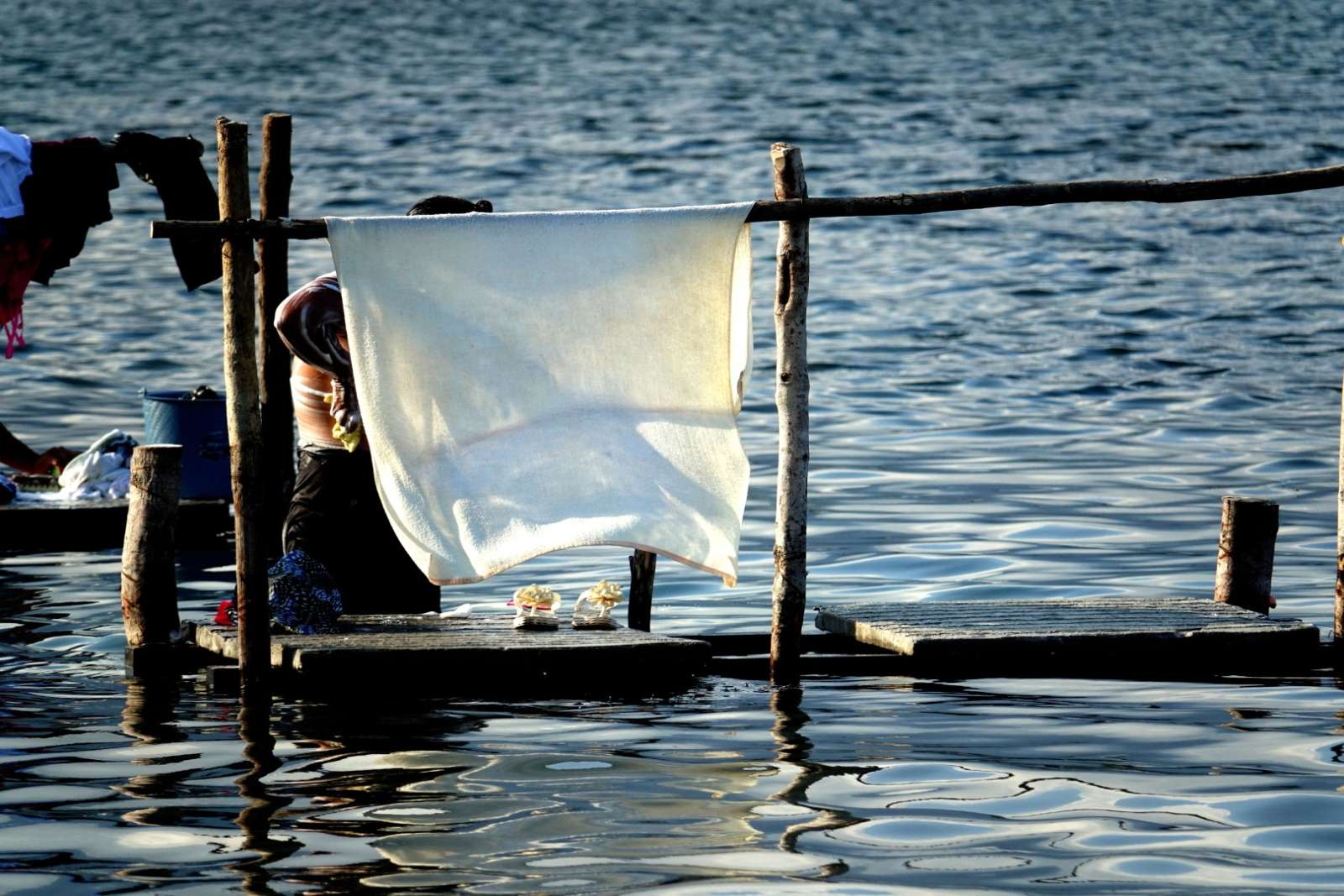 Doing laundry on Lake Atitlan, Guatemala