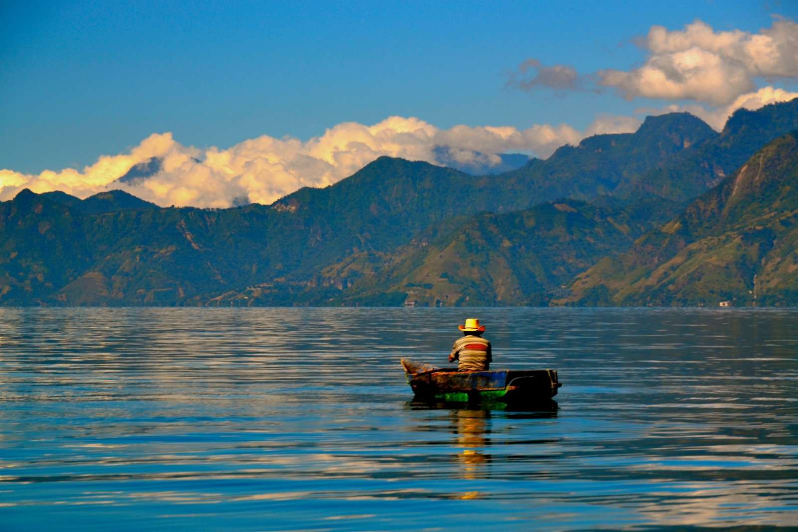 Solitary small boat on Lake Atitlan, Guatemala