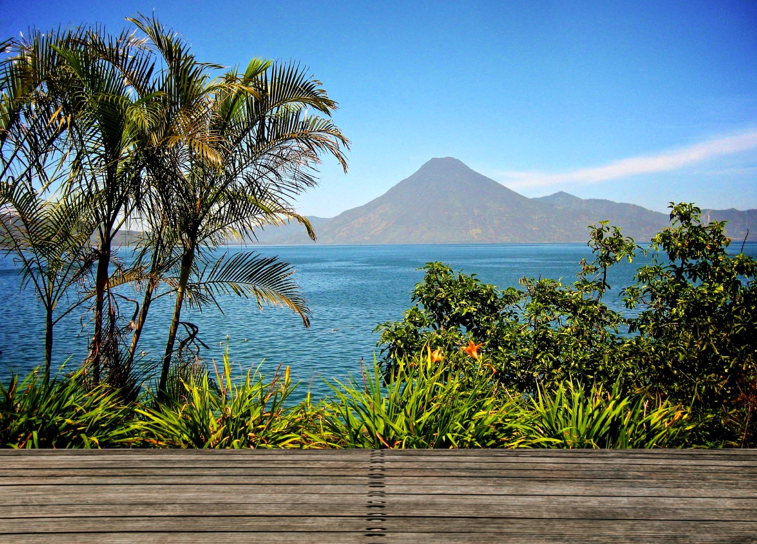 View of Lake Atitlan, Guatemala from decking