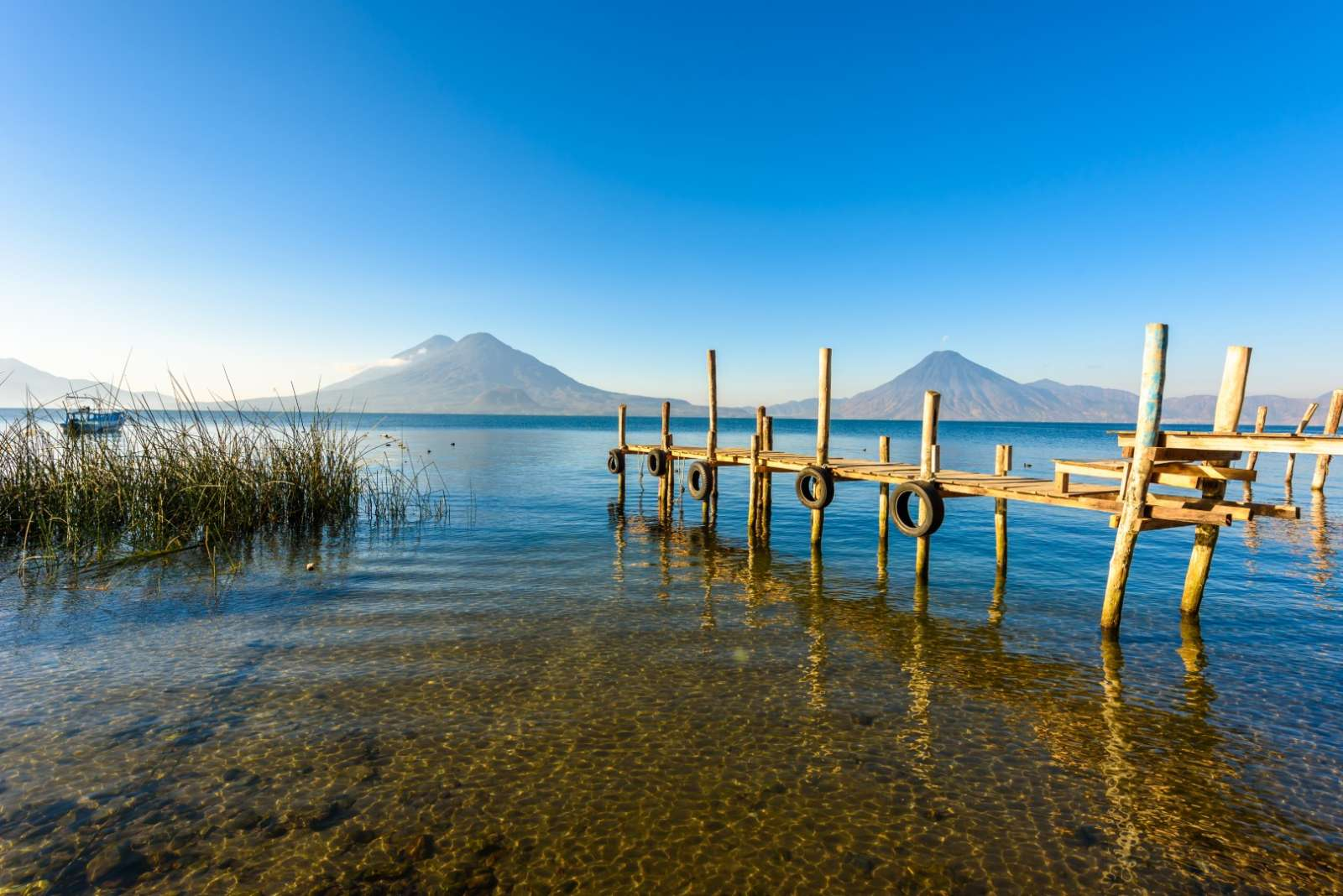 Wooden pier at Lake Atitlan, Guatemala