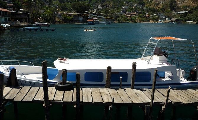 A public boat moored up on Lake Atitlan, Guatemala