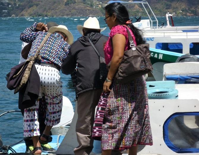 Boarding a public boat in Lake Atitlan