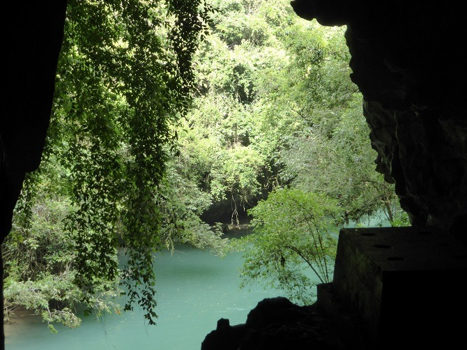 Looking out from the Lanquin Caves in Guatemala