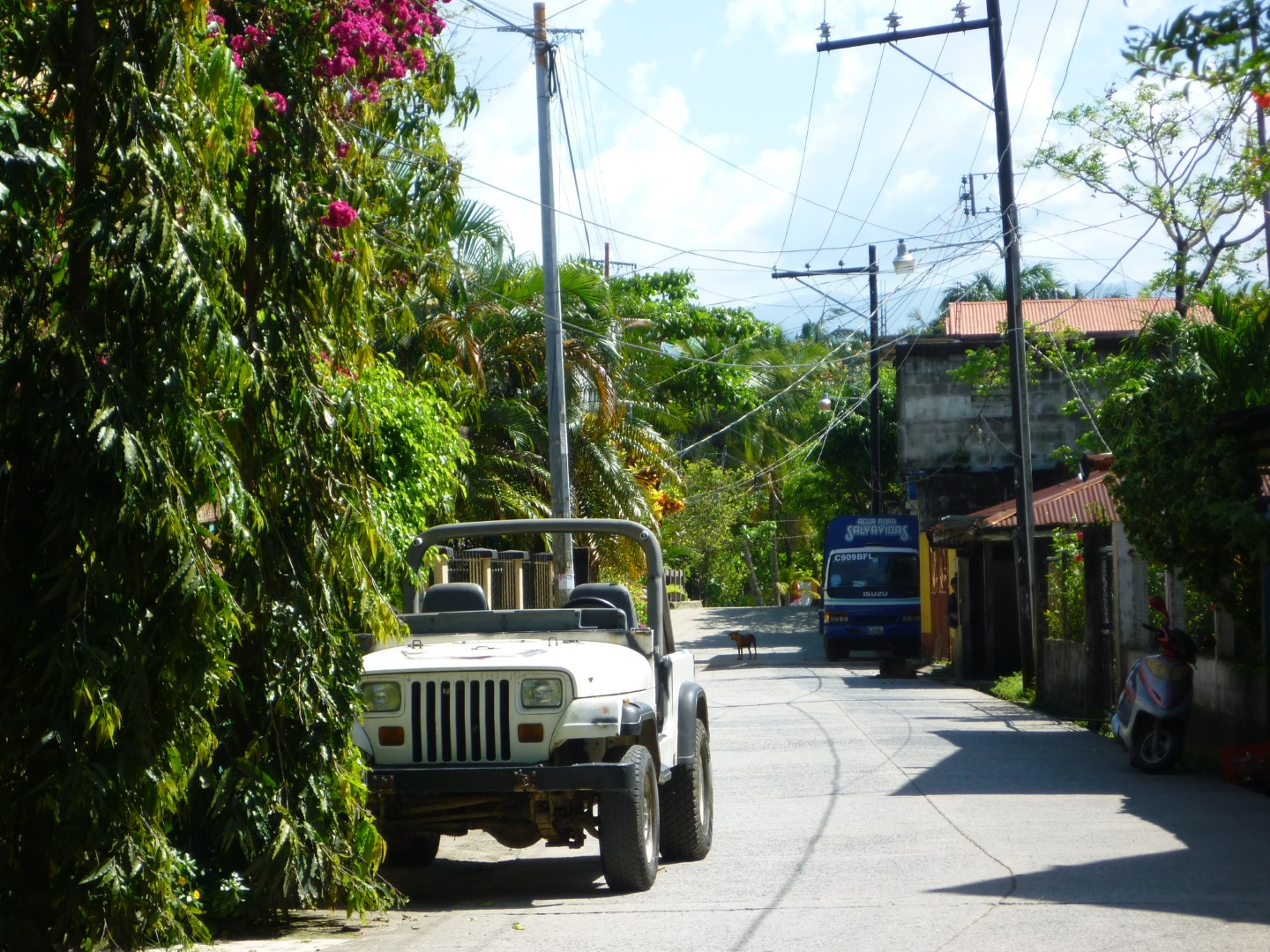 Jeep in quiet street in Livingston, Guatemala