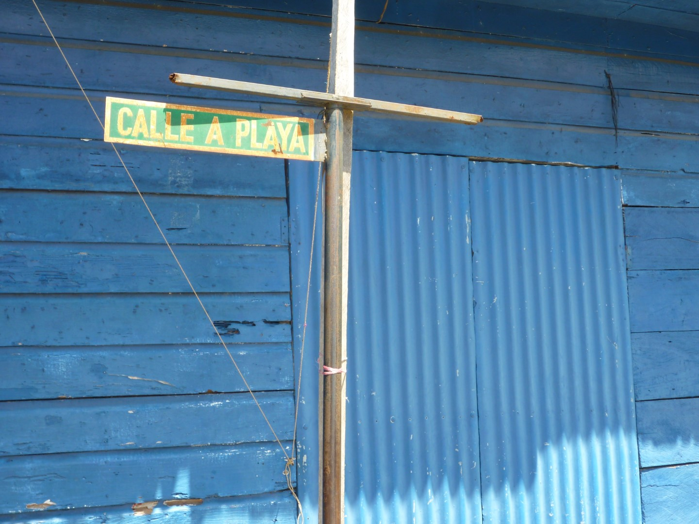 Street sign in Livingston, Guatemala