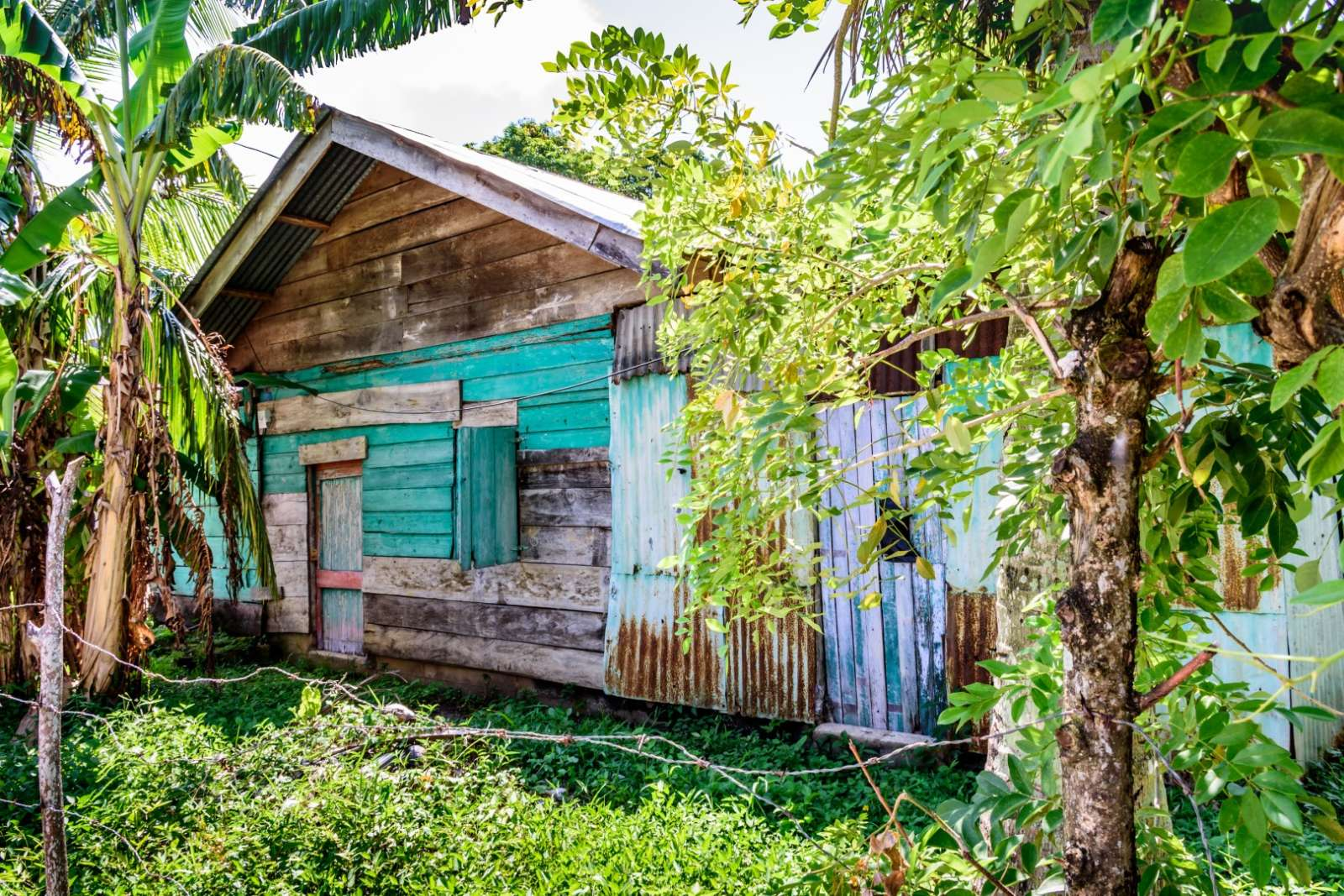 Run-down wooden house in Livingston, Guatemala