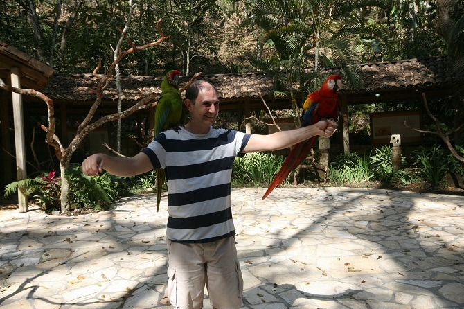 A visitor to Macaw Mountain Park in Copan, Honduras