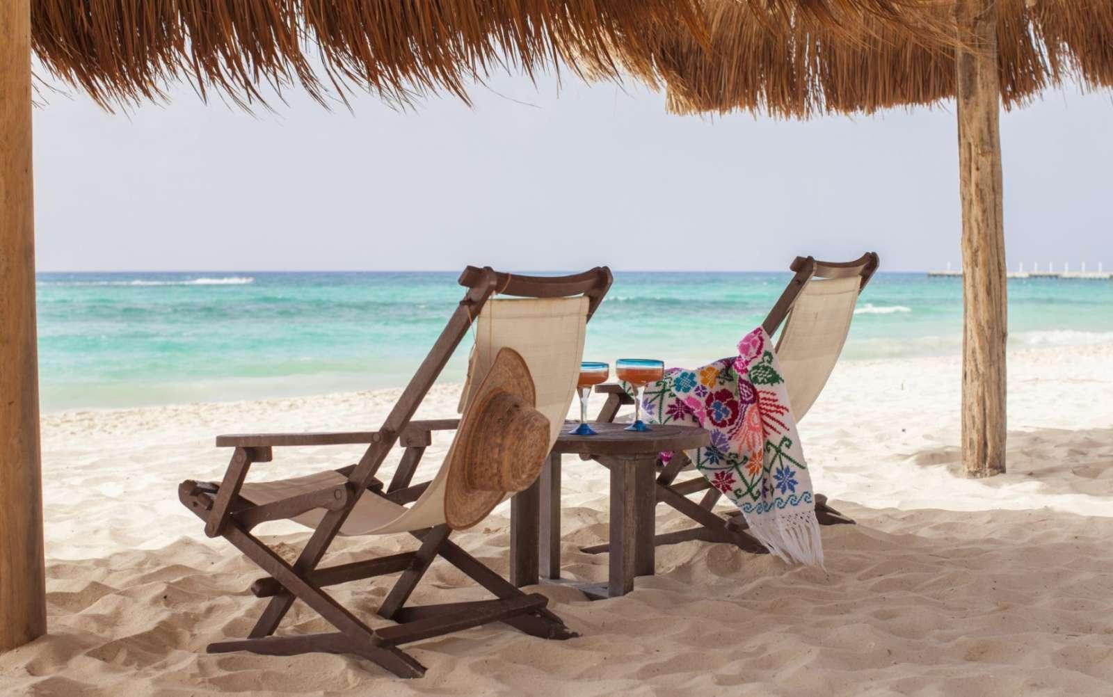 Deck chairs at Mahekal Beach Resort