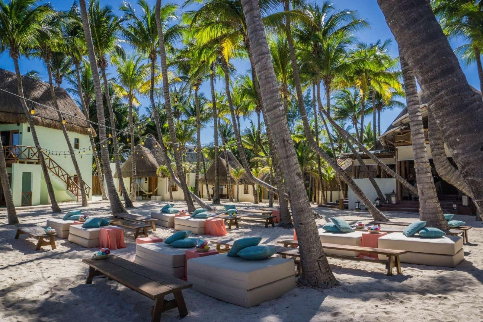 Beach beds at Mahekal Beach Resort