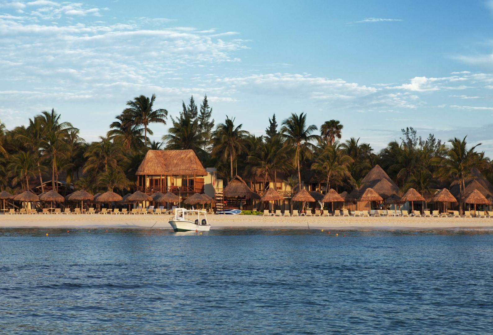View of beach from sea at Mahekal Beach Resort