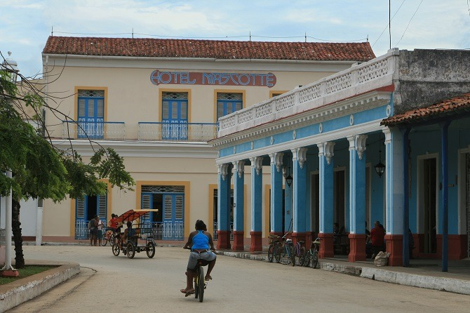 The front side of the Hotel Mascotte in Remedios, Cuba