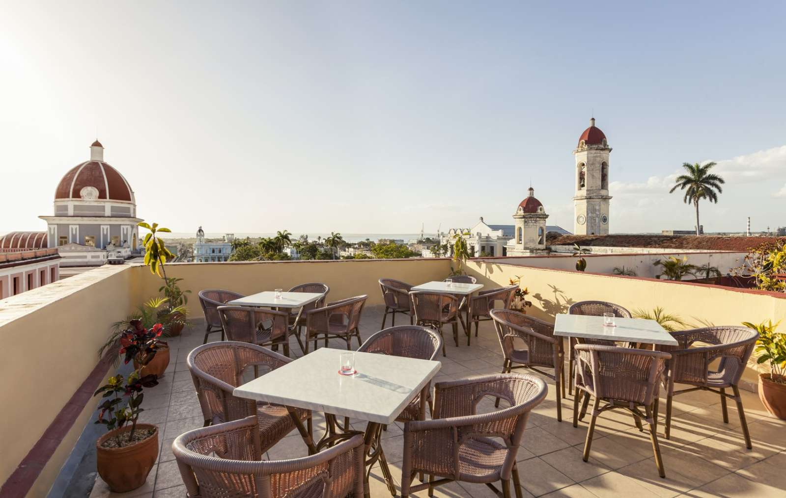 Rooftop terrace at Melia Union hotel in Cienfuegos