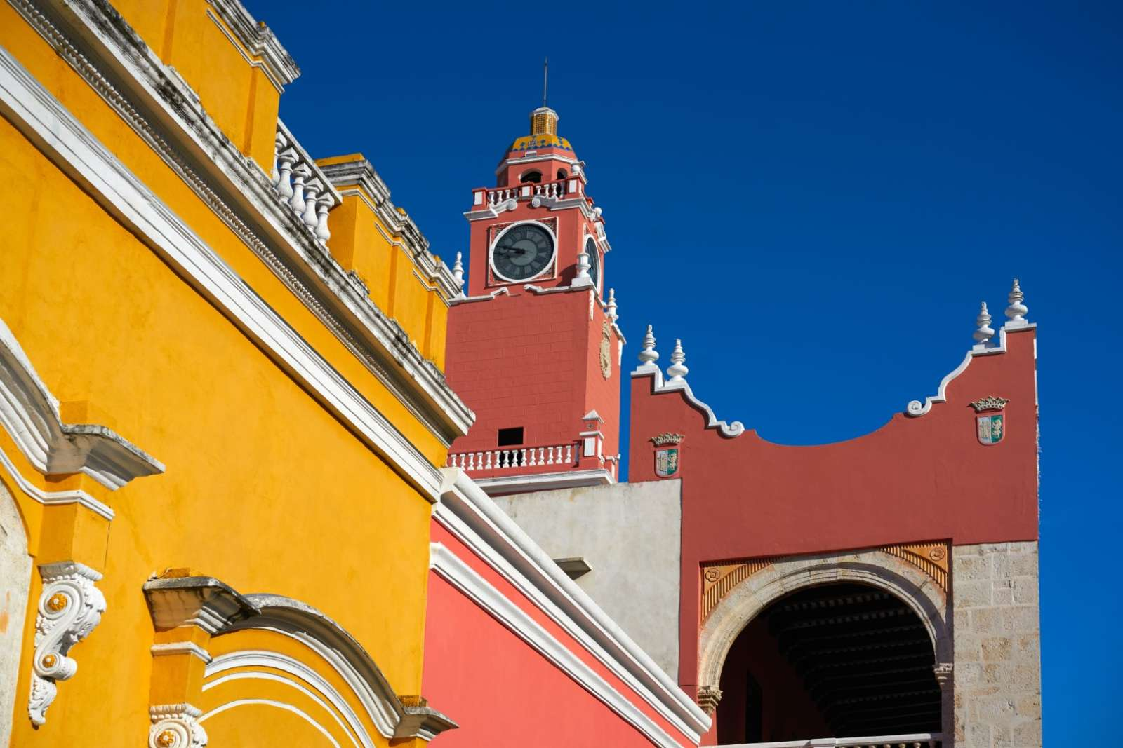 Colourful town hall building in Merida, Yucatan