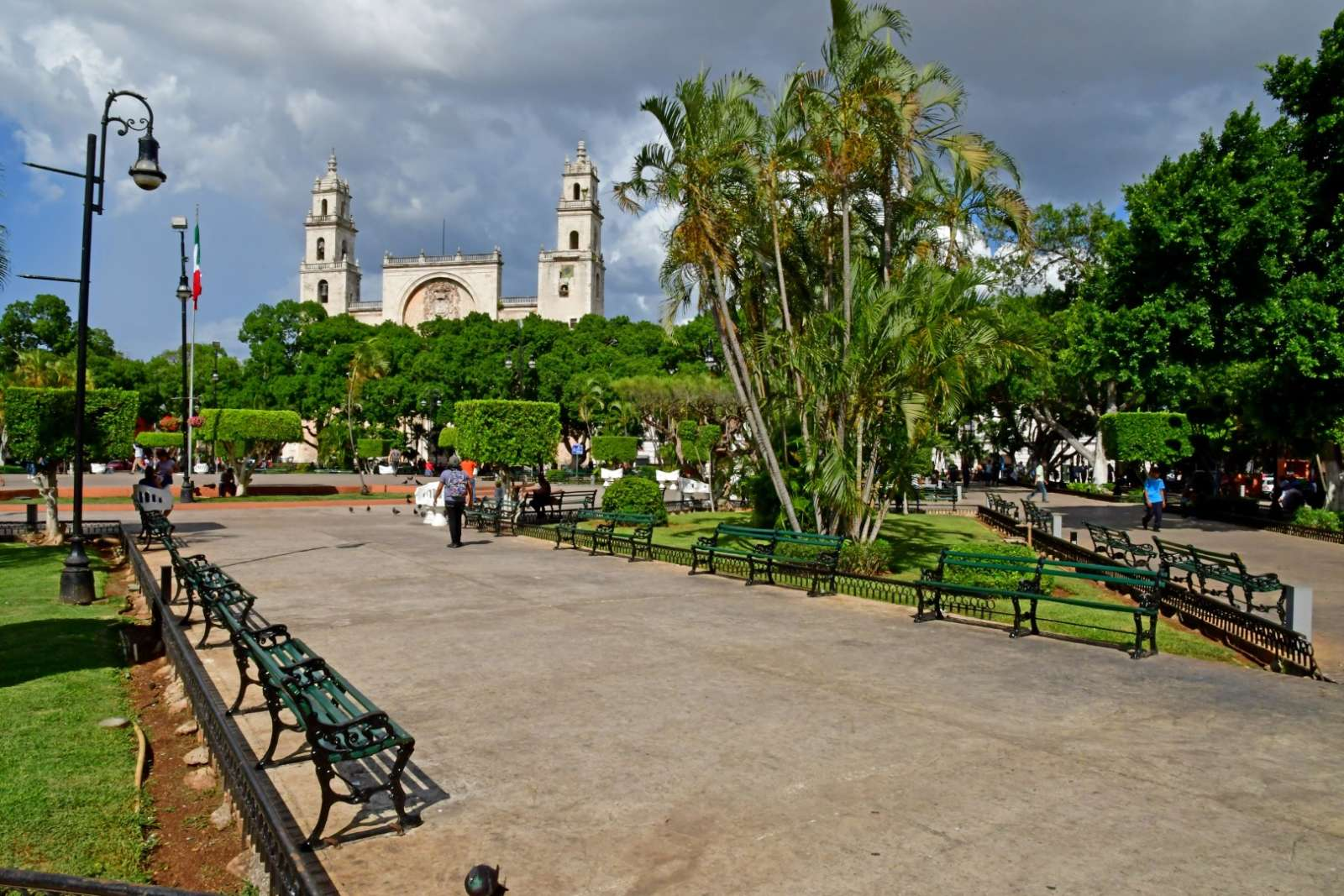 Park and cathedral in Merida, Yucatan