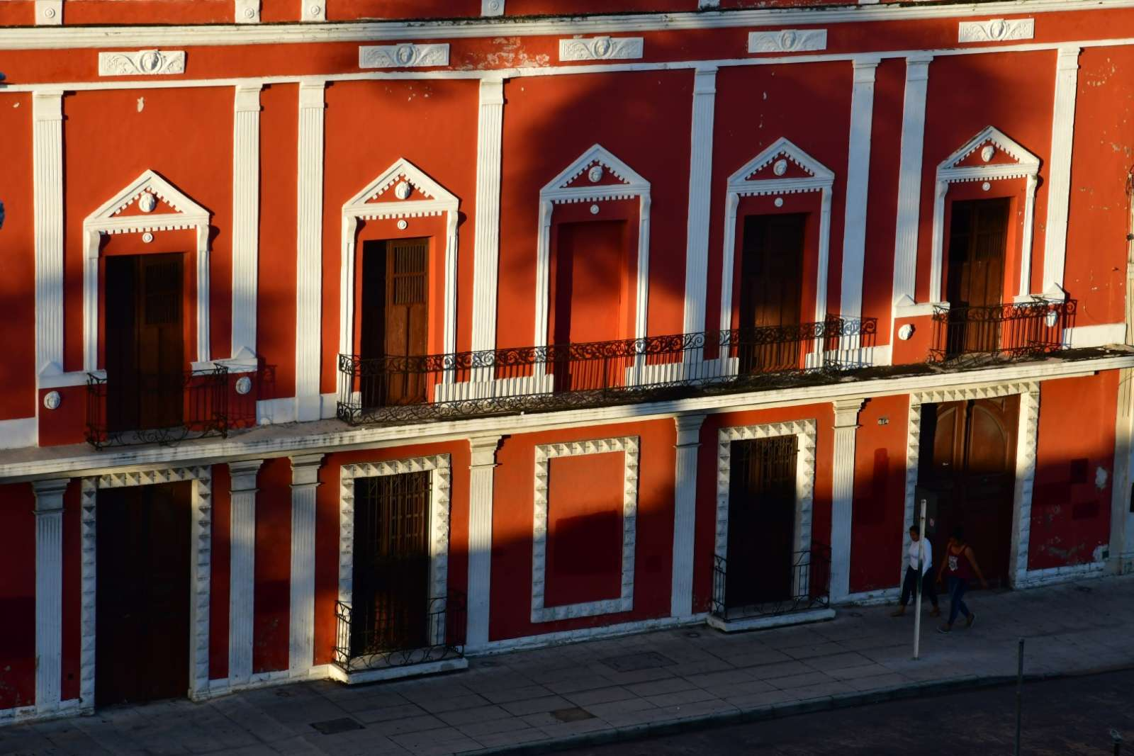 Red, colonial building in Merida, Yucatan