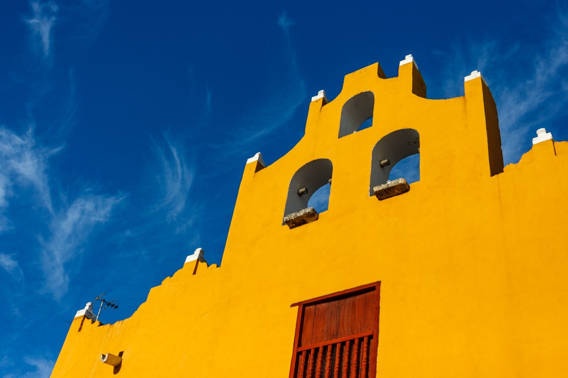 A yellow church tower at Campeche