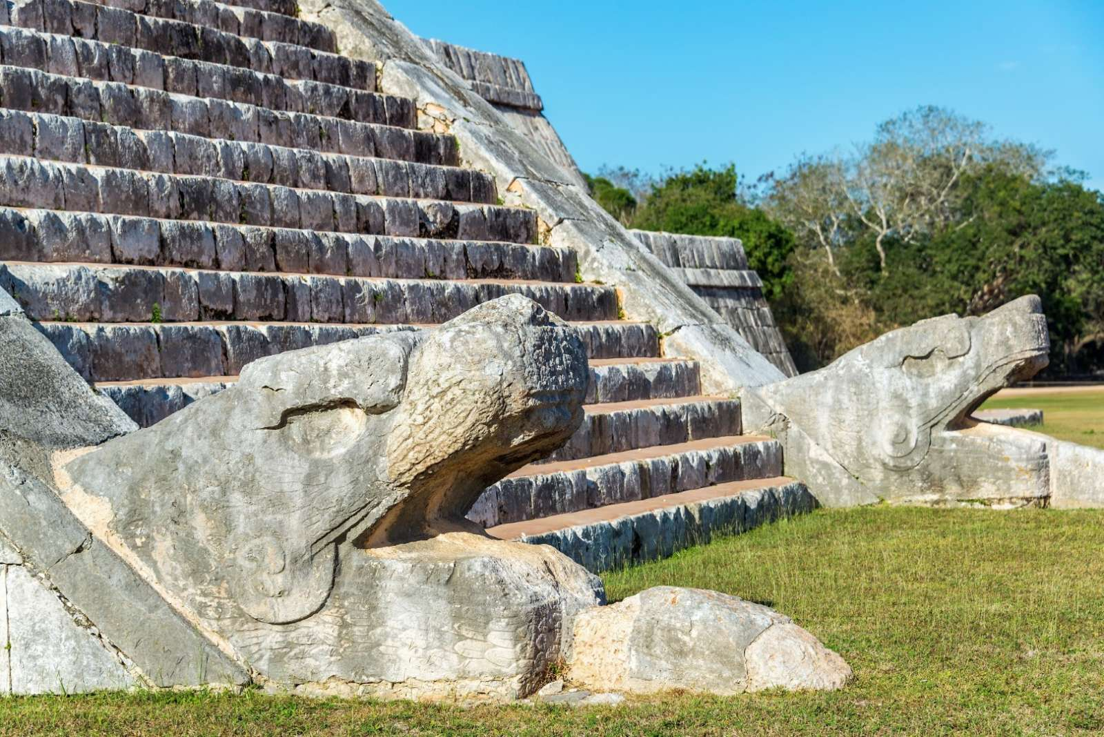 Snake heads at Chichen Itza in Mexico