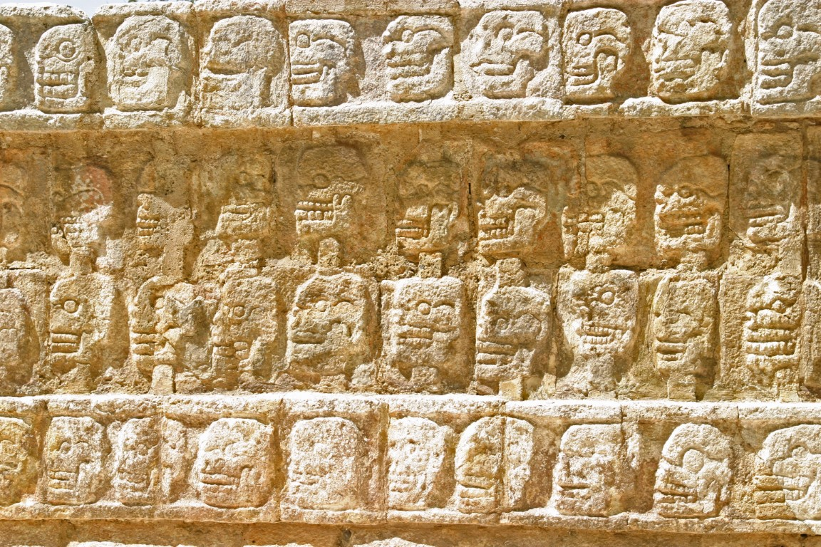Carvings of skulls at Chichen Itza