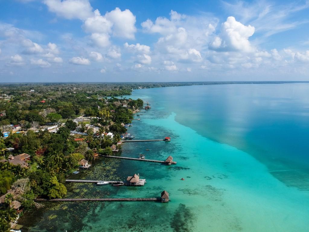 An aerial shot of Mexico Holidays Laguna Bacalar